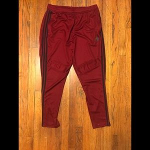 Burgundy Adidas Zippered Ankle Sports Tights XL